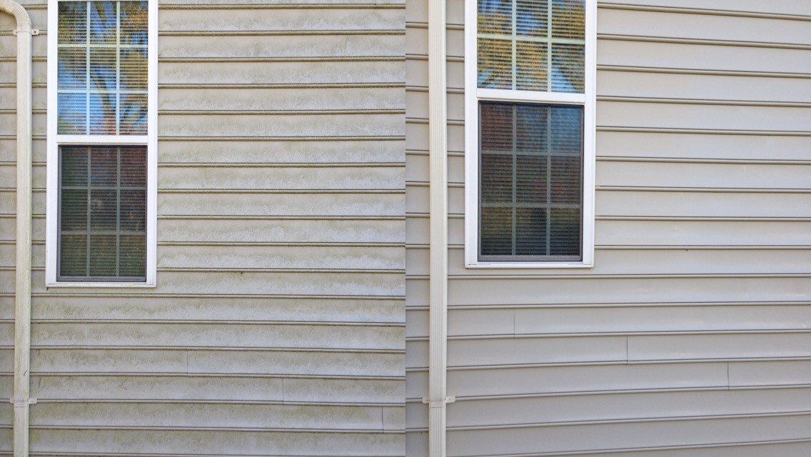 Power Wash before after siding